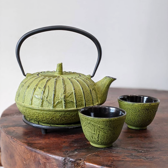 Cast Iron Teapot Set Green