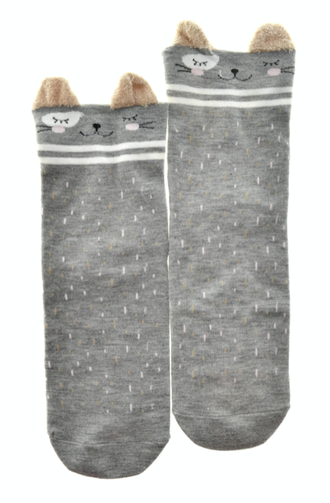 Sleepy Kitty Grey Socks - Women's