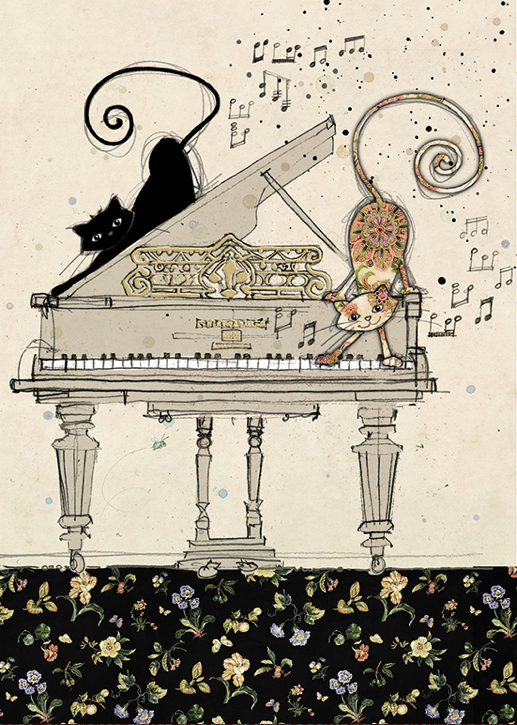 Cats on Piano Card