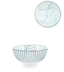 Teal Linear Leaf Bowl- 8 oz 4.5""