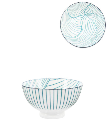 Teal Linear Leaf Bowl- 8 oz 4.5