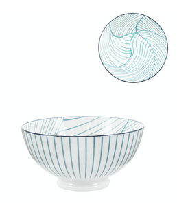 "Teal Linear Leaf Bowl- Porcelain 22 oz 6"" Diameter"