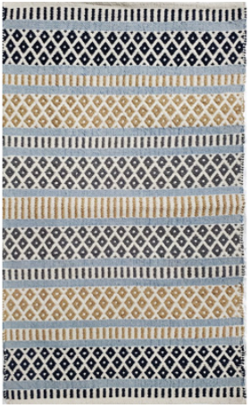 Cotton Rug- Blue Pattern