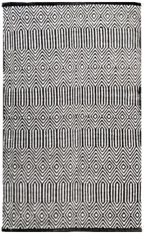 Geometric Black & White -Cotton Rug
