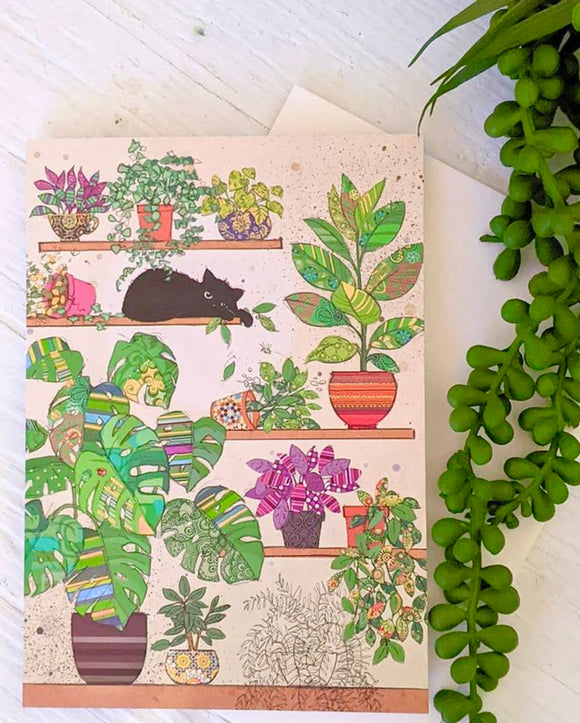 Cat & Plants Card
