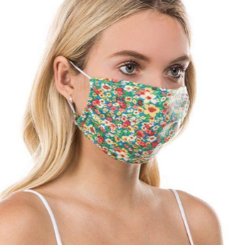 FLOWER PLEATED MASK WITH FILTER POCKET