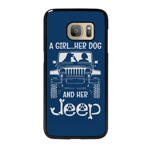 coque custodia cover fundas hoesjes j3 J5 J6 s20 s10 s9 s8 s7 s6 s5 plus edge D25186 GIRL HER DOG & HER JEEP Samsung Galaxy S7 Case