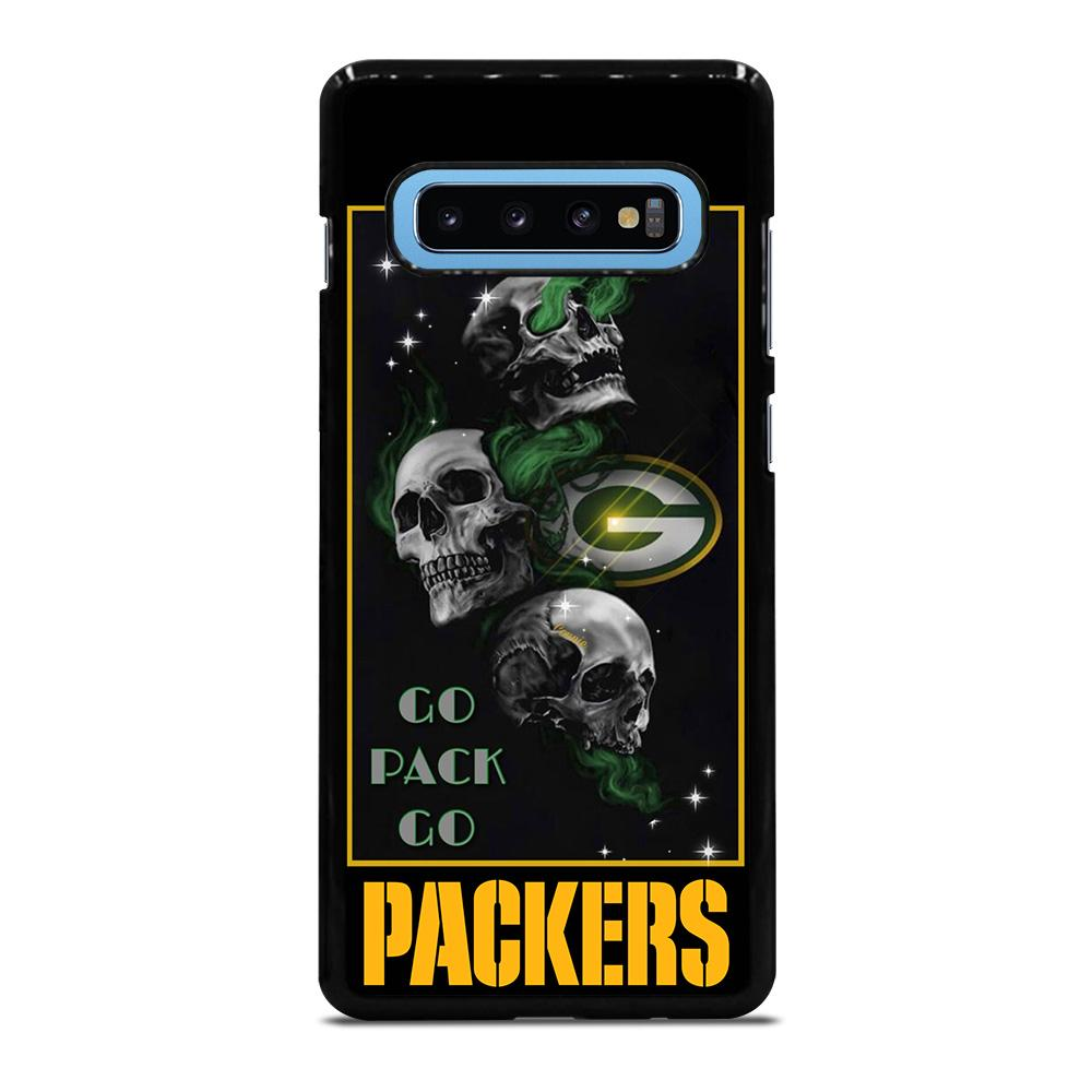 coque custodia cover fundas hoesjes j3 J5 J6 s20 s10 s9 s8 s7 s6 s5 plus edge D25677 GREEN BAY PACKERS SKULL 1 Samsung Galaxy S10 Plus Case