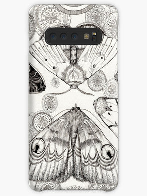 Moth pattern on dark grey Coque Samsung S10