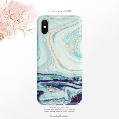 Navy and Teal Ocean Swirls Coque Samsung S10