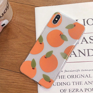 Orange transparent imprimé fruits doux TPU housse de téléphone pour Apple iPhone X XR XS Max 8 7