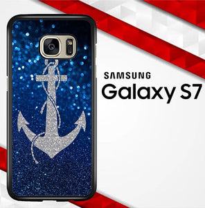 Blue Glitters Anchor O3520 coque Samsung Galaxy S7