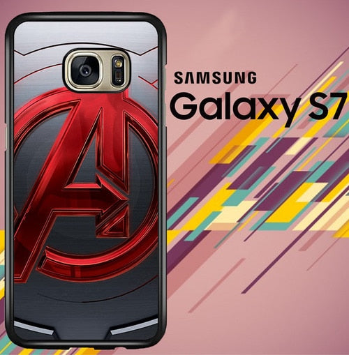 Avengers Logo Red Metal Z5265 coque Samsung Galaxy S7