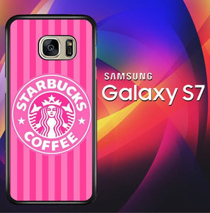 Starbucks Pink Stripes X5719 coque Samsung Galaxy S7