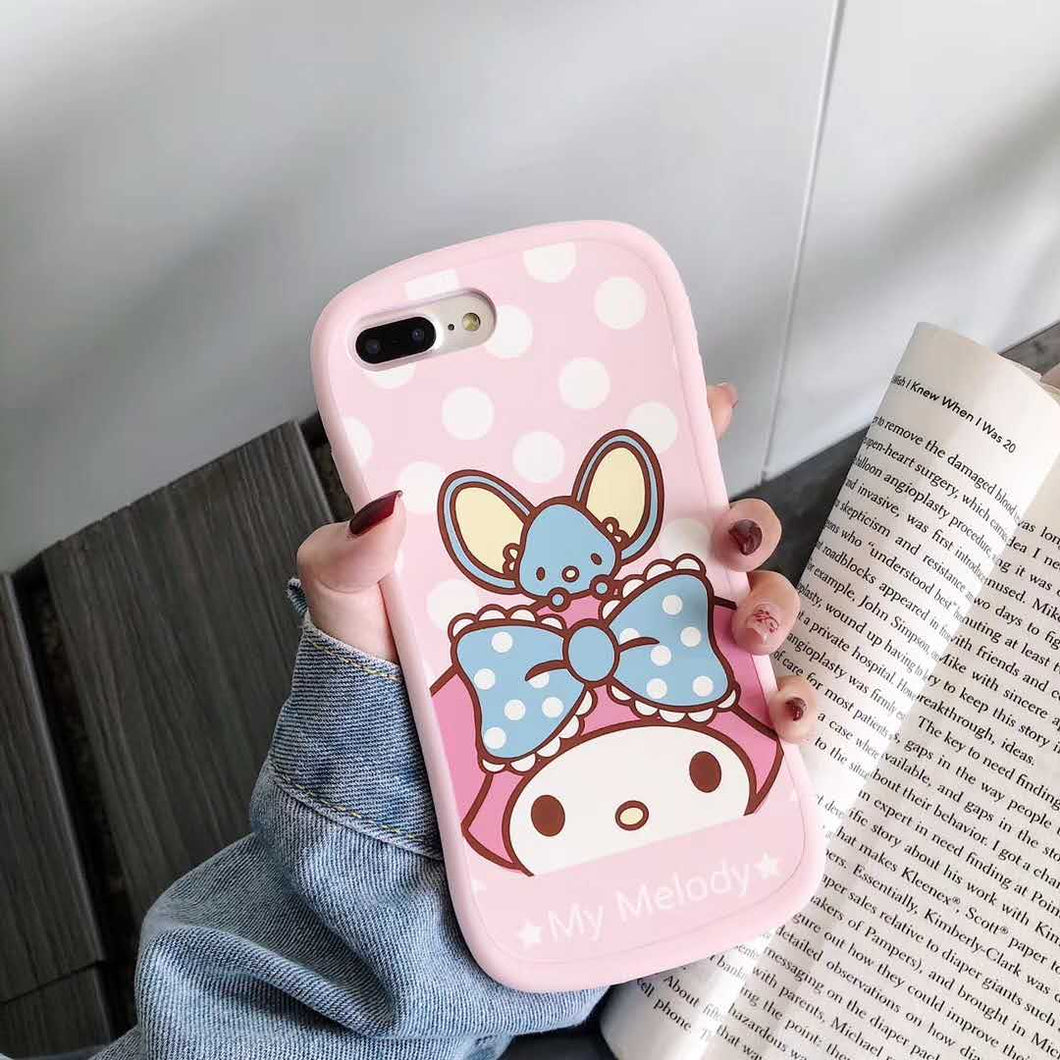 Coque iPhone XR Beau Rose Dessin animé ma mélodie 3D support support  silicone rose téléphone iphone MAX samsung S8 S9 S10 Note