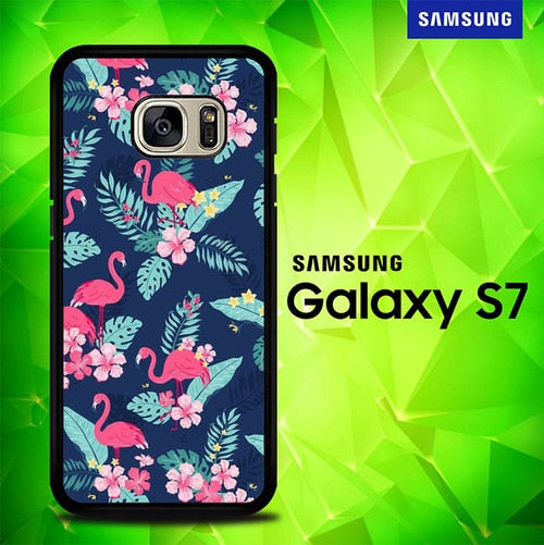 Flamingo Flowers P0757 coque Samsung Galaxy S7