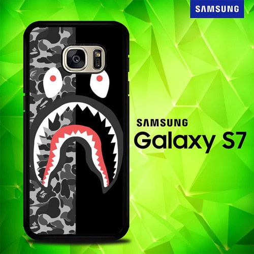 Bape Shark Camo Black And Grey P0758 coque Samsung Galaxy S7