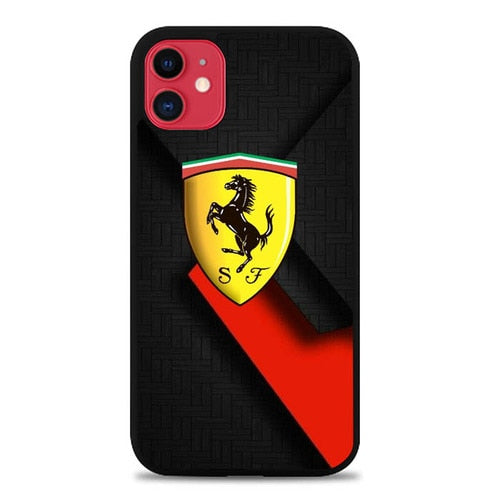 Coque iphone 5 6 7 8 plus x xs xr 11 pro max Ferrari Black and red background P1551
