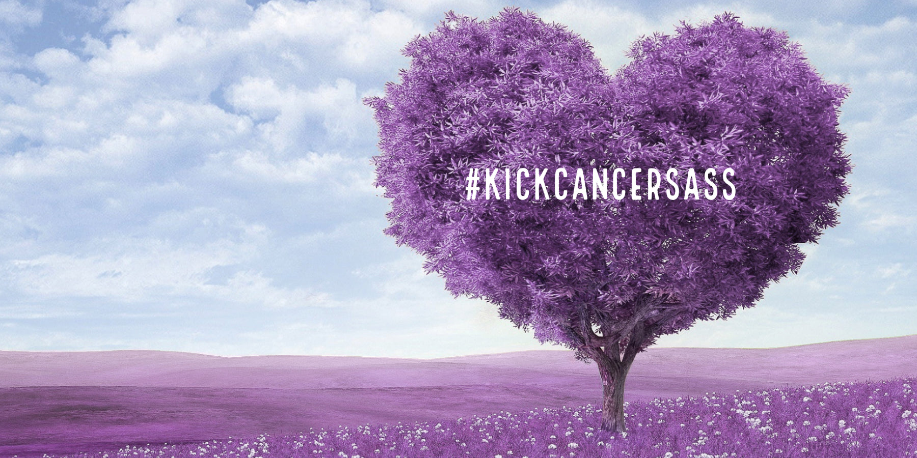 Purple tree and purple fields to symbolise support for people who have cancer or to spread awareness about the disease