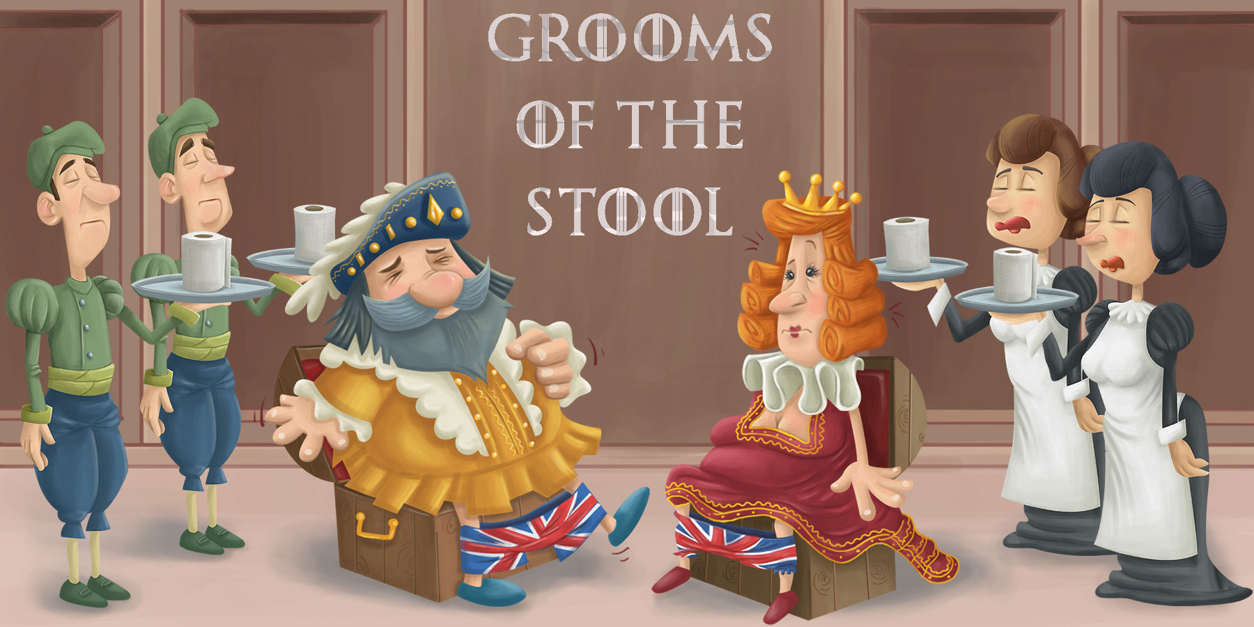 Grooms of the stool serving toilet paper to king and queen who symbolise Uranus Wiper customers