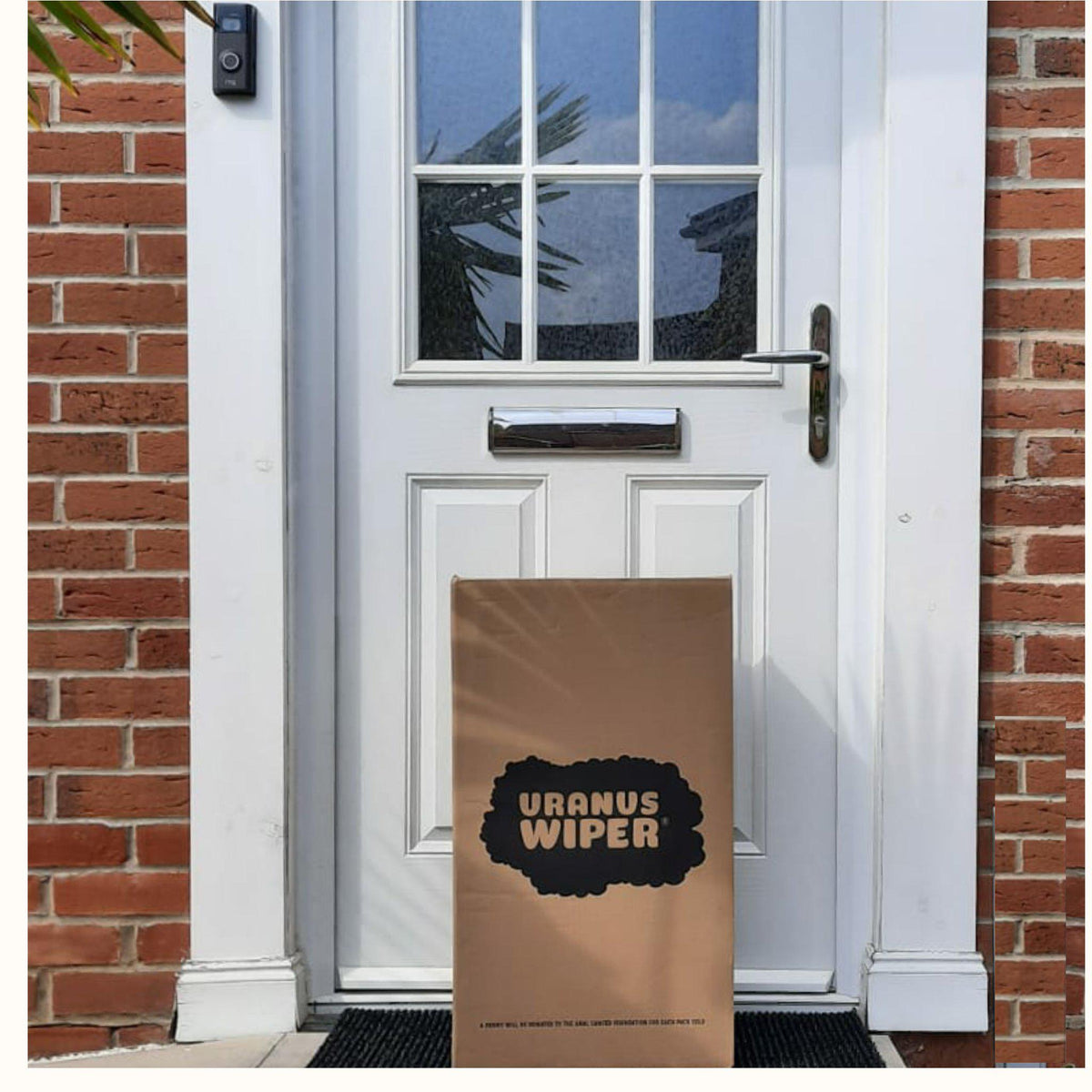 Uranus Wiper Toilet Roll Delivery to white UK household door with bricks