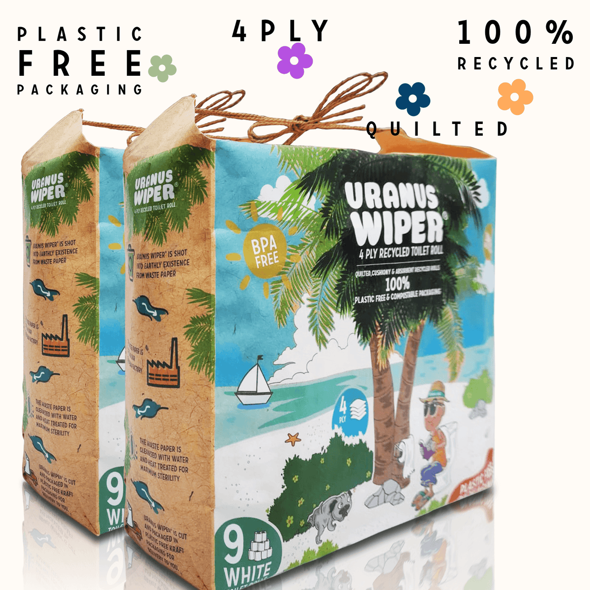 "100% Plastic Free Toilet Paper. 4 Ply, BPA Free, Hypoallergenic and Septic Safe -  ""Always Summer"" 18 Recycled Toilet Rolls"