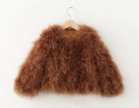 Mini Hepburn - Ostrich Feather Coat - Mocca