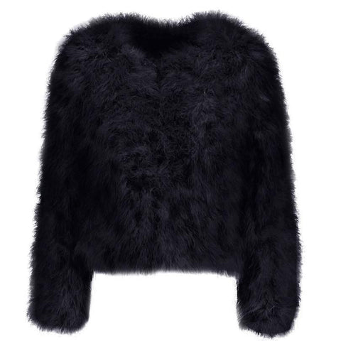 Hepburn - Ostrich Feather Coat - Black