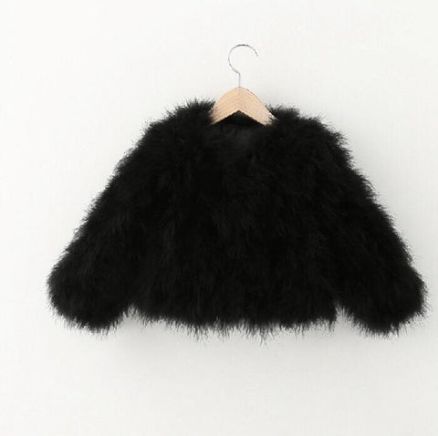 Mini Hepburn - Ostrich Feather Coat - Black