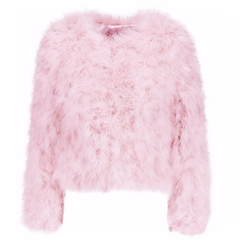 Hepburn - Ostrich Feather Coat - Pink