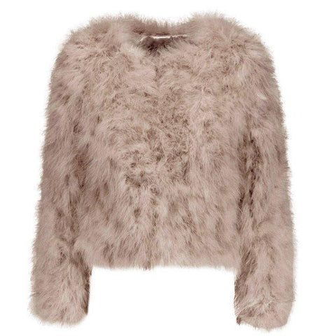 Hepburn - Ostrich Feather Coat - Mocca