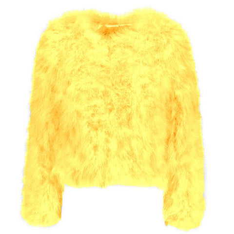 Hepburn - Ostrich Feather Coat - Yellow