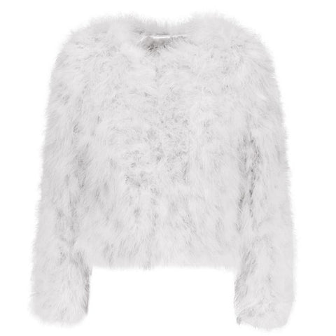 Hepburn - Ostrich Feather Coat - White