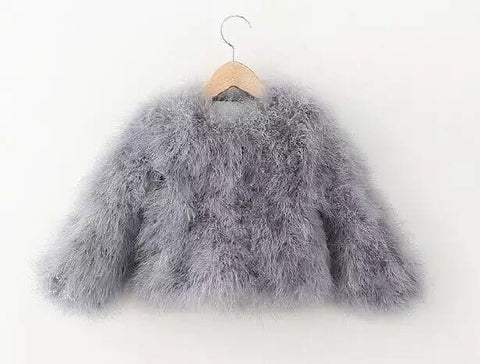 Mini Hepburn - Ostrich Feather Coat - Smokey Grey