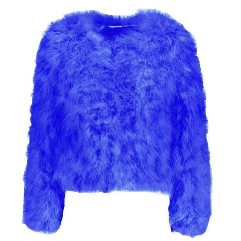 Hepburn - Ostrich Feather Coat - Cobalt