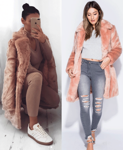 Tilly - Faux Fur Coat - Pink