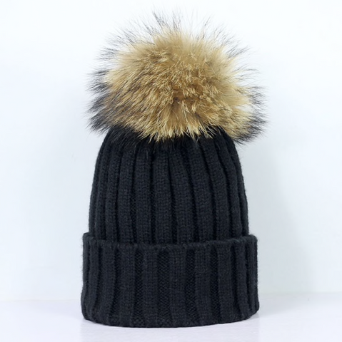 Large Pompom Hat - Black