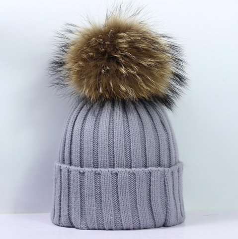 Large Pompom Hat - Grey