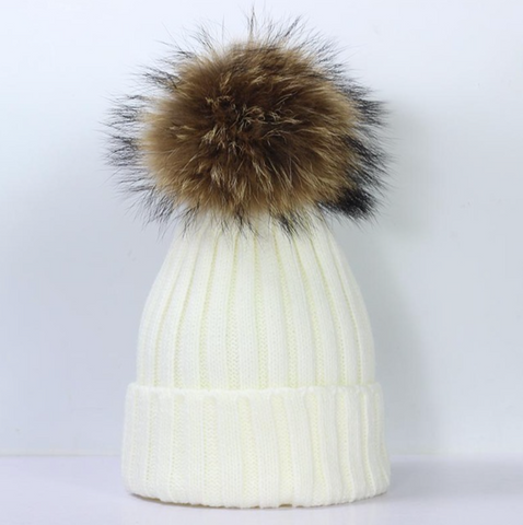 Large Pompom Hat - Cream