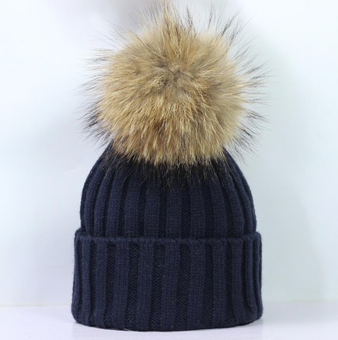 Large Pompom Hat - Navy