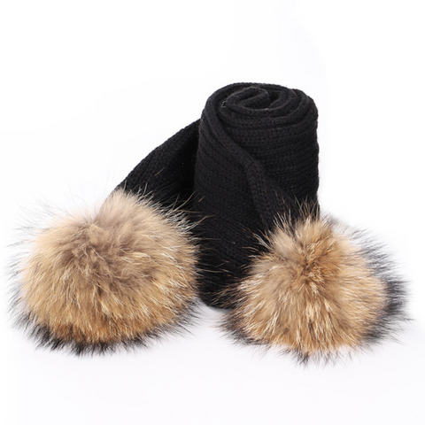 Large Pompom Scarf - Black (Brown PomPoms)