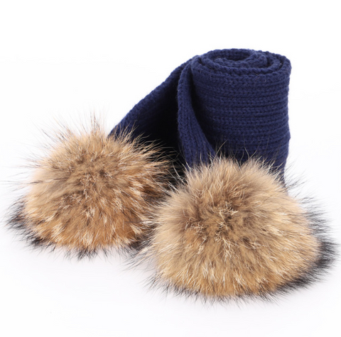 Large Pompom Scarf - Navy (Brown PomPoms)