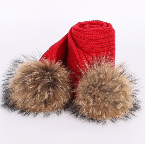 Large Pompom Scarf - Red (Brown PomPoms)