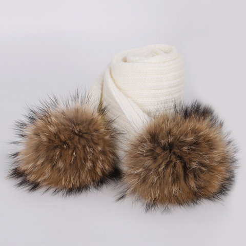Large Pompom Scarf - Cream (Brown PomPoms)