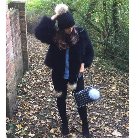 Hepburn - Ostrich Feather Coat - Black ( pre order)
