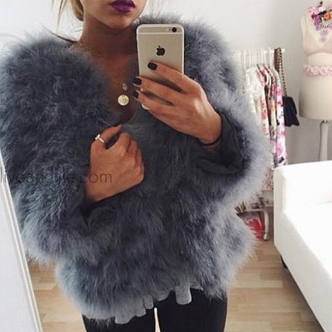 Hepburn - Ostrich Feather Coat - Smokey Grey ( pre order )