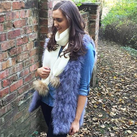 Monroe - Ostrich Feather Gillet - Smokey Grey