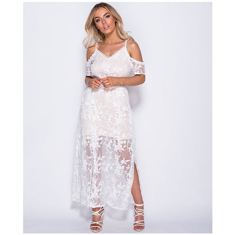 Tia - Cold Shoulder Maxi Dress