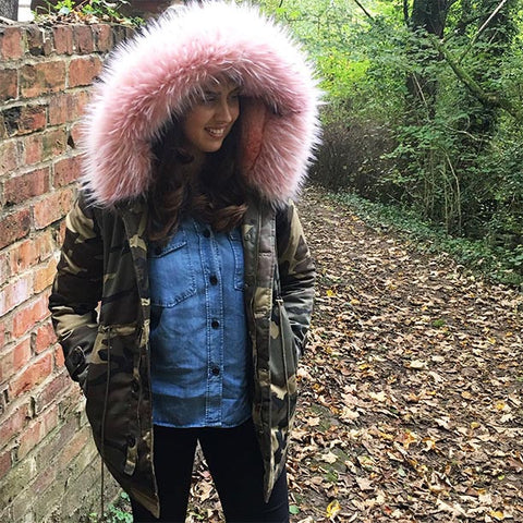 Winter Chill - Camouflage Pink Fur Line Parka Jacket