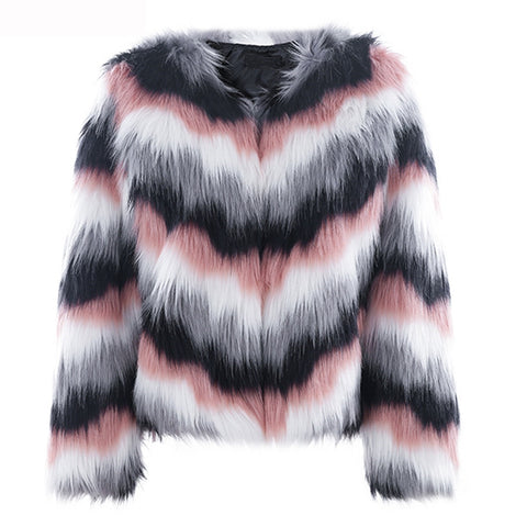 Queen Bee - Faux Fur Coat - Pink Multi